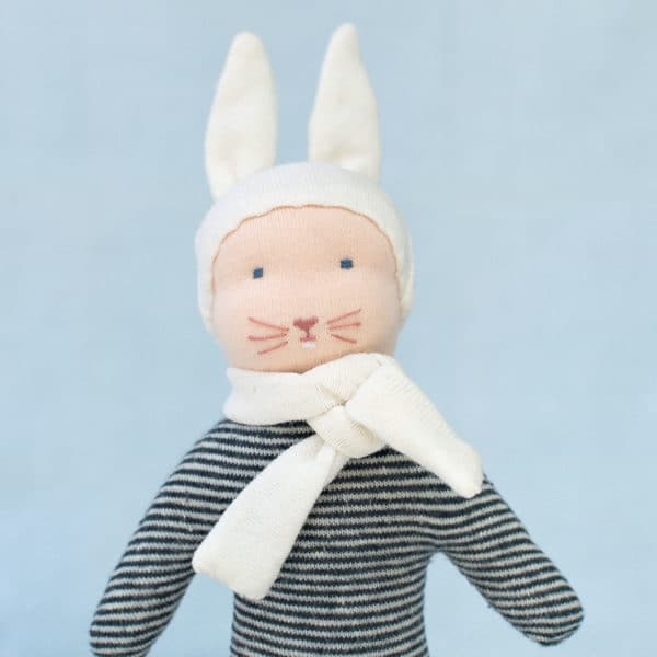 le kit petit lapin bleu permet de réaliser un doudou tout en matières naturelles