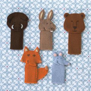 marionnettes à doigt en feutrine de laine oeko-tex à réaliser grâce au kit Pique & Colegram