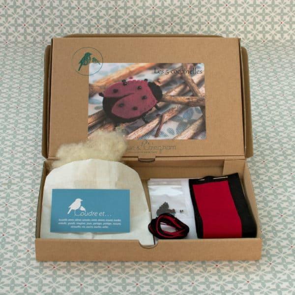 kit feutrine facile permettant de réaliser 5 coccinelles en feutrine, laine cardée et perles Miyuki