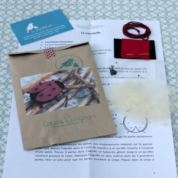 La coccinelle, kit couture d'une coccinelle à réaliser à partir de feutrine de laine et perles Miyuki