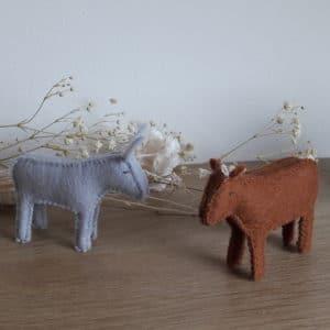 L'âne et le veau, un kit Pique & Colegram pour la crèche de Noël